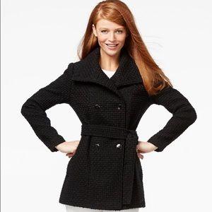 Calvin Klein black Boucle pea coat jacket